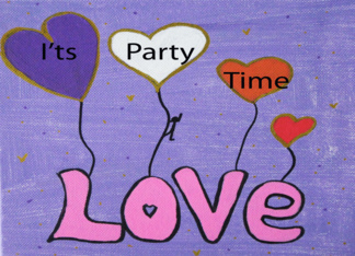 Painting- Its Party Time- Love heart Balloons Greeting Card