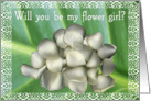 Flower Girl Request - White Rose Petals card