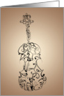 Violin Flourish, Black on Tan card