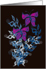 a pair of purple butterflies at night card