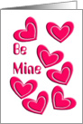 be mine card with seven hearts card