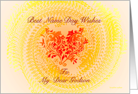 godson, best name day wishes, ornamental heart card