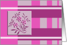 pink floral motif on modern striped design card