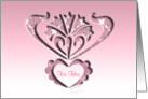 for her with love, pink cut-out silhouette ornamental style, card