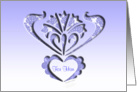for him with love, blue cut-out silhouette look, ornamental style, card
