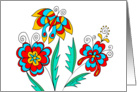 stylized flowers with butterfly, art nouveau style, card