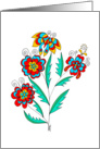 vivid stylized flowers with beautiful butterfly, art nouveau style, card
