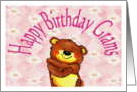 Birthday from young child, Grams, Bear Hug card