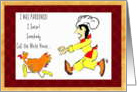 Thanksgiving, Birthday, Turkey, Chef, Humor, Fun, Pardon card