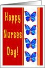 Happy Nurses Day, Butterflies, Thank You card