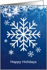 Business New Year card - white snowflakes on blue card