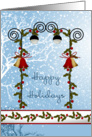 Happy Christmas holidays card - bells, holly and lantern card