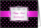 Birthday Sweet 16 - Hot pink polka dot card