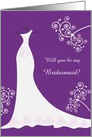 Wedding, Be my Bridesmaid - white gown and swirls on purple card