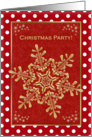 Christmas party Invitation - gold snowflakes on red background card