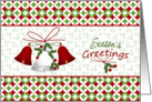 Business Christmas card for customers - bells and holly card