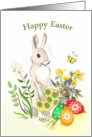 Easter bunny, flowers, Easter eggs card