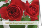 Matron of Honor card with red rose card