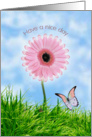 Have a nice day card with pink daisy-gerbera and butterfly card