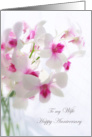 Wedding Anniversary card for Wife - white orchids card