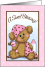 Cute baby girl shower invitation card