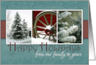 Happy Holidays from our family to yours-Pine Trees and Snow card