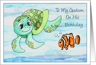 Godson Birthday-Sea Turtle and Clown Fish Friends card