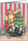 Christmas Tree Lights Cats (Bud & Tony) card
