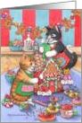Gingerbread House Party Invitation Cats (Bud & Tony) card