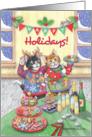 Ugly Christmas Sweater Cats Happy Holidays! (Bud & Tony) card