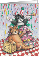 Cat Popping Out Of Cake Birthday (Bud & Tony) card by Betty Matsumoto-Schuch