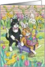 Cats Delivering Easter Eggs (Bud & Tony) card