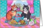 Cats & Mother's Day Tea (Bud & Tony) card