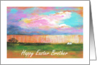 Brother, Happy Easter, April Showers, Abstract Landscape Art card