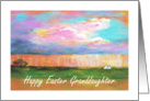 Granddaughter, Happy Easter, April Showers, Abstract Landscape Art card