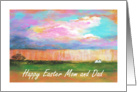 Mom and Dad, Happy Easter, April Showers, Abstract Landscape Art card