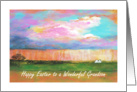 Wonderful Grandson, Happy Easter, April Showers, Abstract Landscape card