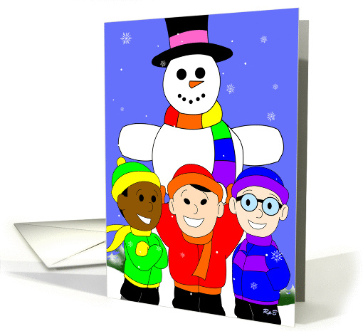 Rainbow Snowman: Gay Holiday card