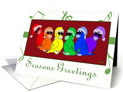 Rainbow Birdies: Gay Holiday card