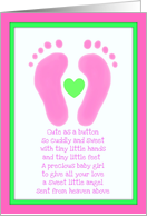 Baby girl congratulations baby feet card
