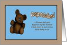 New Baby Congratulations teddy bear blue card