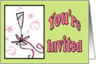 Bridal shower invitation champagne glass card