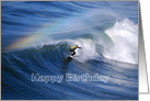 Happy Birthday Surfer Under a Rainbow card