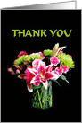 Thank You, Stargazer Lily Bouquet, Black Background card