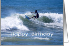 Happy Birthday Surfer Riding the Waves card