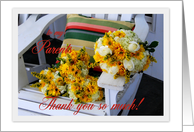 Parents Thank you So Much, Wedding Bouquets on Adirondack Chair card
