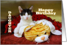 Daughter Happy Birthday, Kitten card