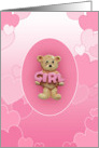 Pink Girl Teddy Bear card