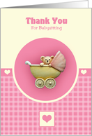 Baby Teddy Bear In Pink Pram card