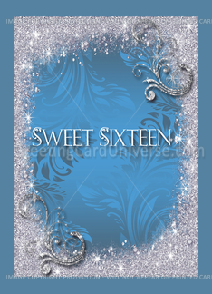 Blue, Faux, Silk Look, Sweet Sixteen Invitations Greeting Card